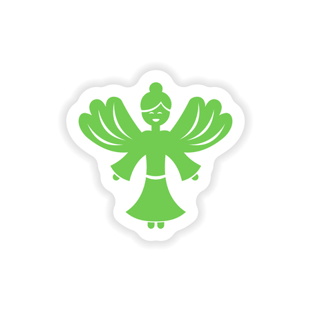 christmas angels: paper sticker on white background  Christmas Angels Illustration
