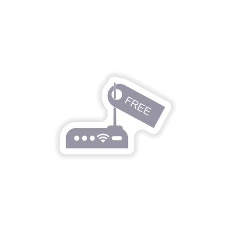 paper sticker on white background   Wi-Fi router Illustration