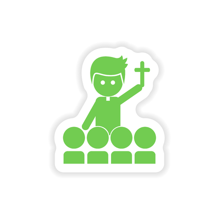 christian young: paper sticker on white background  priest and people