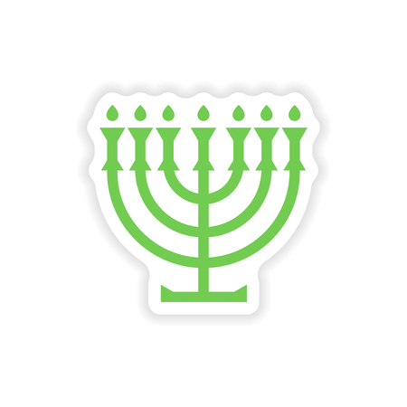 candlestick: paper sticker on white background  candlestick candles