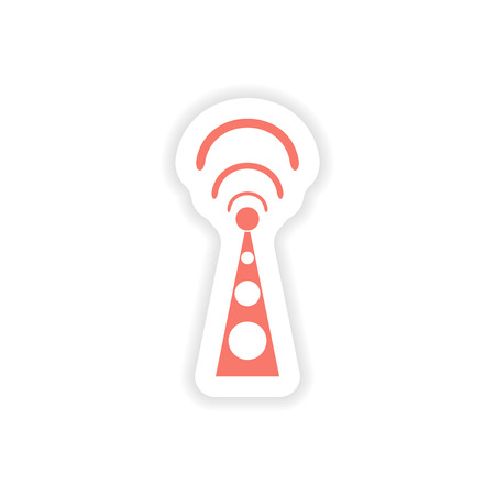 wi fi: paper sticker on white background  Wi fi tower