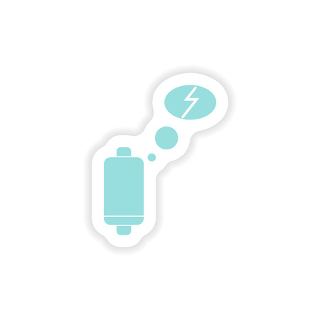 weary: paper sticker on white background  mobile battery is low