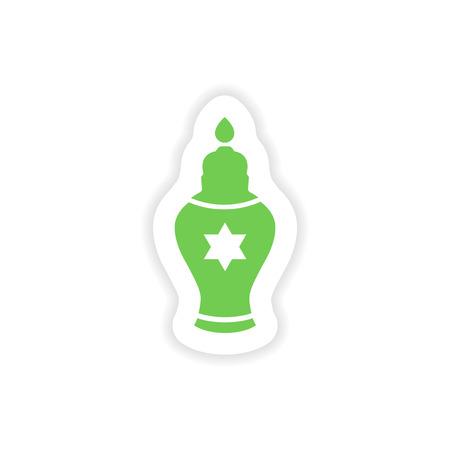 judaic: paper sticker on white background  Hanukkah candles