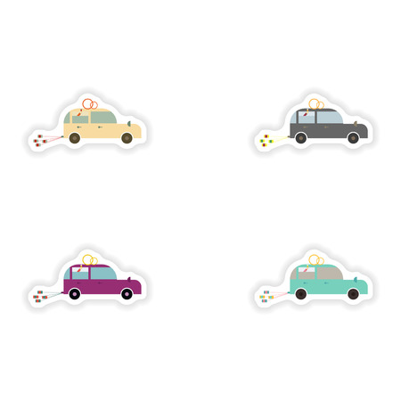stylish concept paper sticker on white background Honeymoon car
