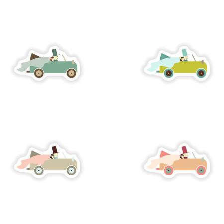 elegante novio concepto de papel adhesivo y el coche de la novia