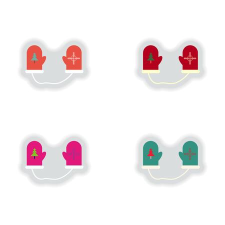 mittens: stylish concept paper sticker on white background mittens Illustration