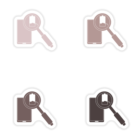 clock radio: Set of paper stickers on white background  Mobile phone battery Illustration