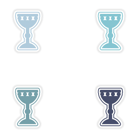 grail: Set of paper stickers on white background  Holy Grail Illustration
