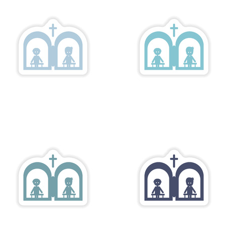 liturgy: Set of paper stickers on white background  Christian confessions