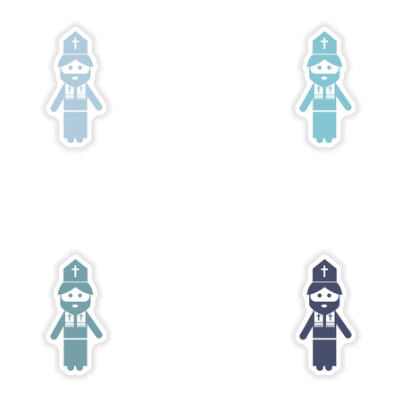 cleric: Set of paper stickers on white background  Christian priest