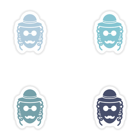 hassid: Set of paper stickers on white background  Jewish man