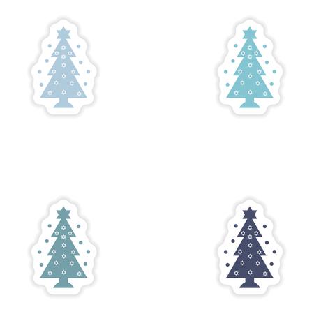 hannukah: Set of paper stickers on white background  Hanukkah tree