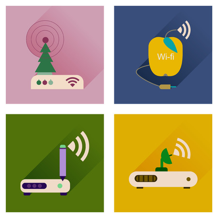 wireless lan: Concept of flat icons with long shadow