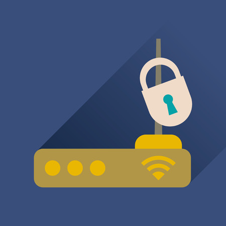 Flat icon with long shadow modem Illustration