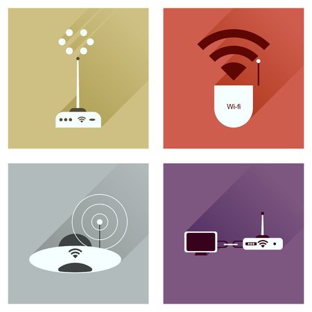 wi: Concept of flat icons with long shadow  Wi-Fi