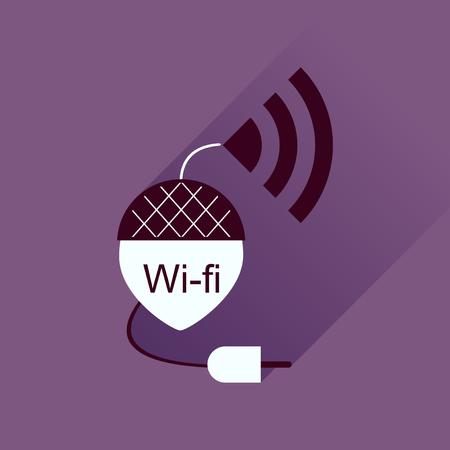 modem: Flat icon with long shadow modem Illustration
