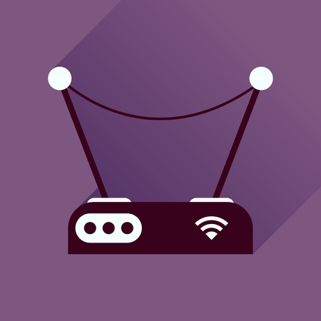 hub computer: Flat icon with long shadow modem Illustration