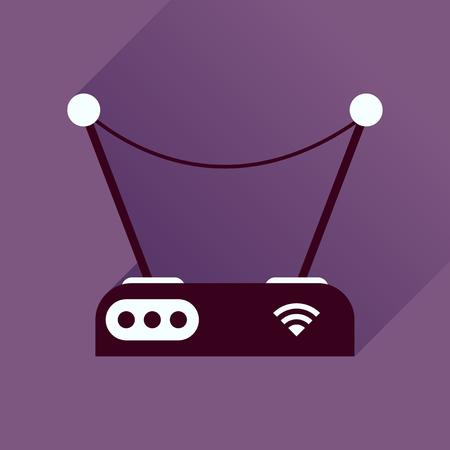 hub computer: Flat icon with long shadow modem Illustration