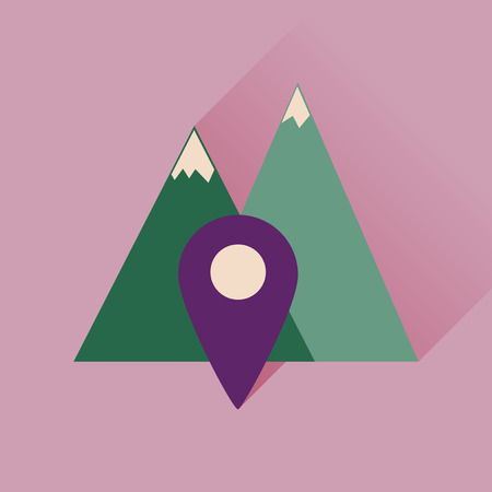 excursions: Flat icon with long shadow  mountain location