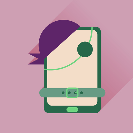 mobile applications: Flat icon with long shadow  mobile applications