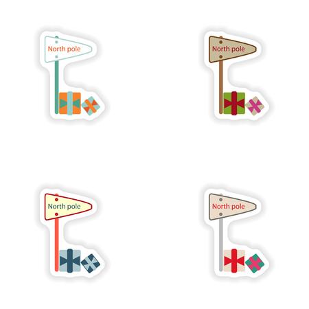 frigid: stylish concept paper sticker on white background pointer North Pole