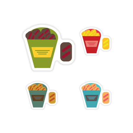 snack: Set of paper stickers on a white background snack crackers Illustration
