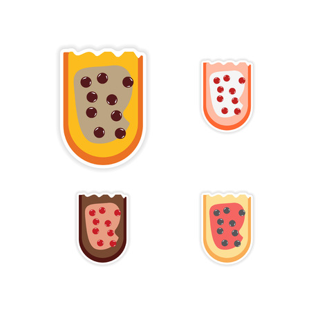 caviar: Set of paper stickers on a white background sandwich caviar Illustration