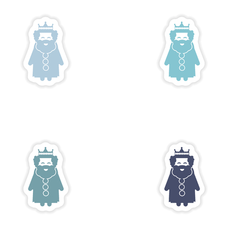 monarchy: Set of paper stickers on white background  king cartoon