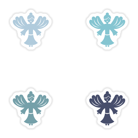 holly day: Set of paper stickers on white background  Christmas Angels Illustration