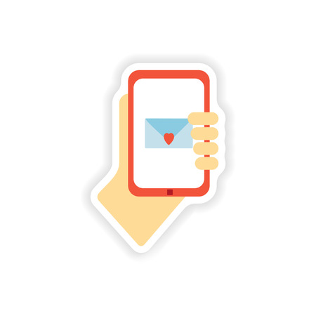 acquaintance: stylish paper sticker on white background romantic sms