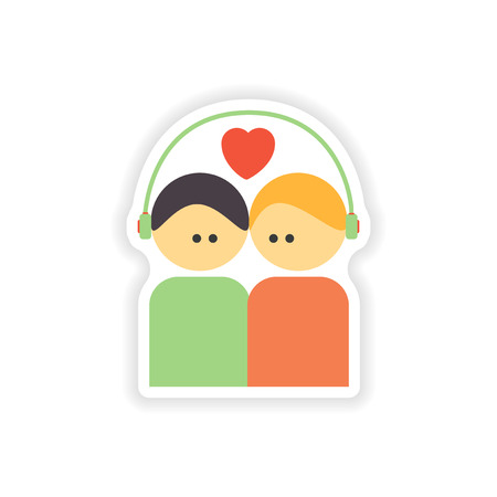 stylish couple: stylish paper sticker on white background couple in love