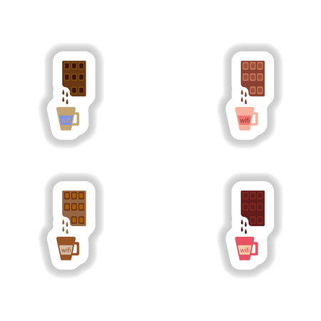 hot chocolate: Set stylish paper stickers cup of hot chocolate Illustration