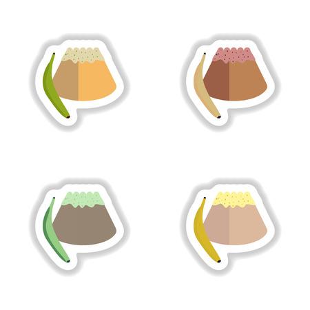sweet bun: Set stylish paper stickers sweet bun with banana