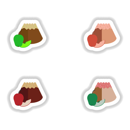puff pastry: Set stylish paper stickers bun with apple Illustration