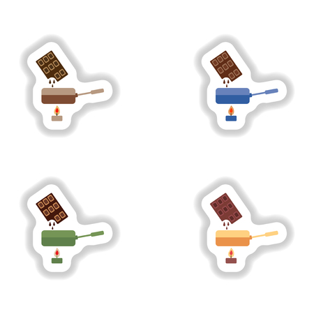 brownie: Set stylish paper stickers chocolate fondue on candle Illustration