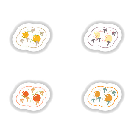 fried eggs: assembly paper stickers fried eggs with mushrooms Illustration