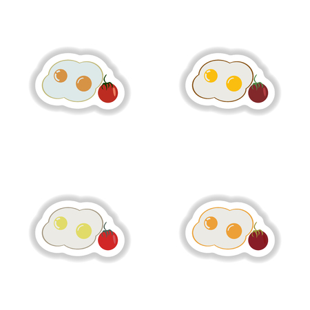 crispy: assembly paper stickers fried eggs with tomatoes