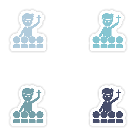 christian young: Set of paper stickers on white background   priest and people Illustration
