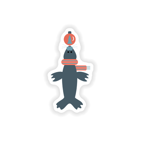 whisker characters: stylish paper sticker on white background fur seal