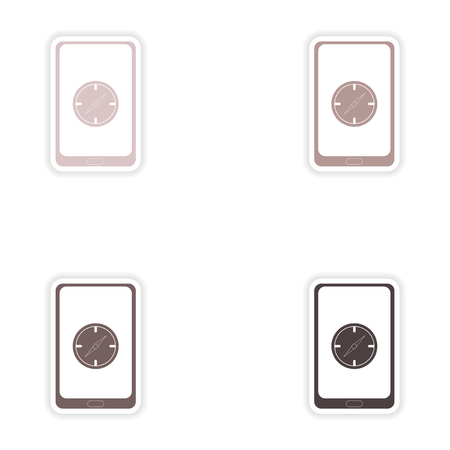4g: Set of paper stickers on white background   mobile phone navigation Illustration