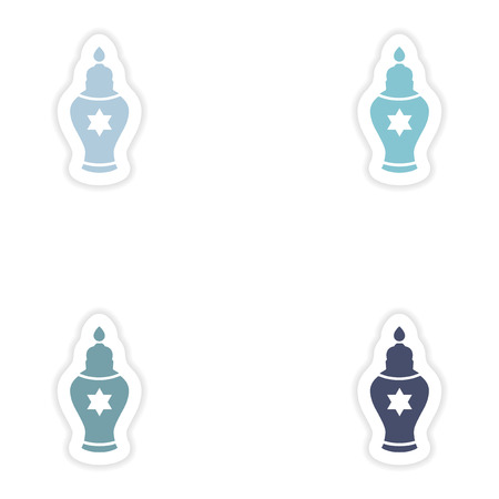 hannukah: Set of paper stickers on white background   Hanukkah candles Illustration