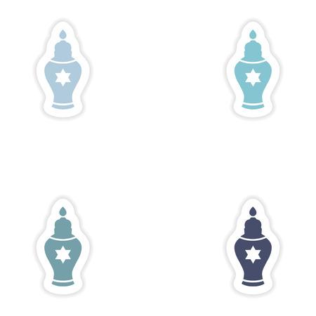 religious celebration: Set of paper stickers on white background   Hanukkah candles Illustration