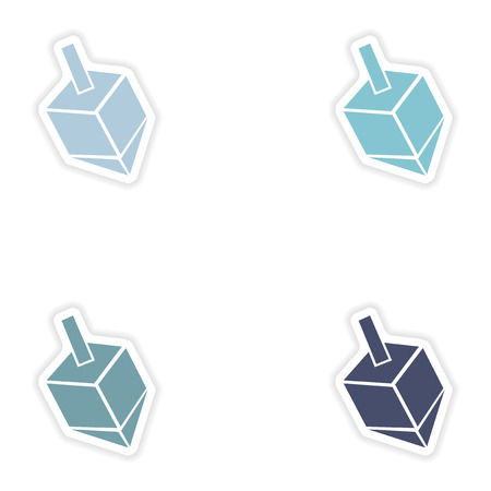 chanukkah: Set of paper stickers on white background
