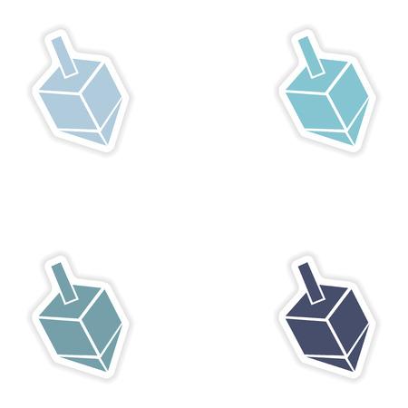 hanuka: Set of paper stickers on white background