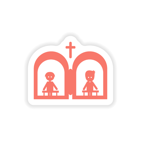 liturgy: paper sticker on white background  Christian confessions