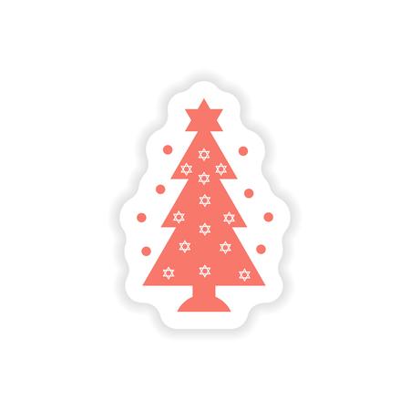 hannukah: paper sticker on white background  Hanukkah tree Illustration