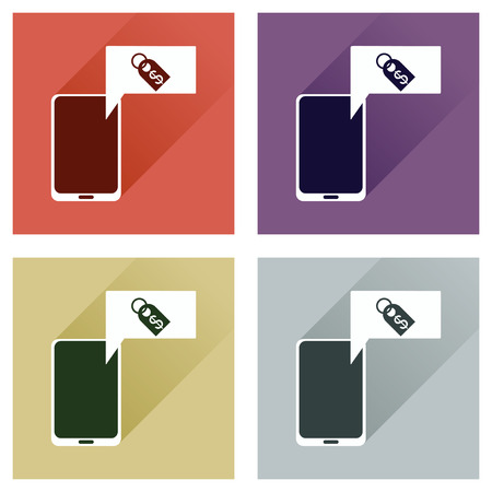 sms payment: Concept of flat icons with long shadow mobile money Illustration