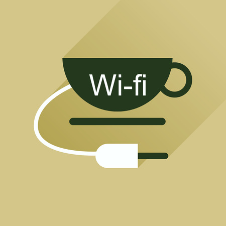 wi fi: Flat icon with long shadow  Wi fi Cup