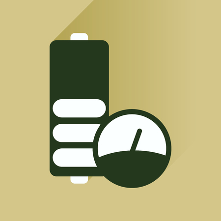 cell charger: Flat icon with long shadow  battery level Illustration