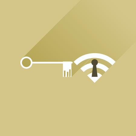 wi: Flat icon with long shadow  Key Wi fi Illustration